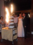 Bride and Groom with lovely cake mia dalby-Ball